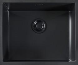 ABK Bingara BIN50fBL zwart emaille spoelbak 50 onderbouw met zwarte plug 1208952446