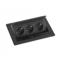 EVOline Fliptop 3 Verzinkbare contactdoos randaarde zwart