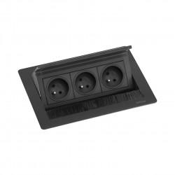 EVOline Fliptop 3 Verzinkbare contactdoos penaarde zwart