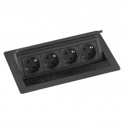 EVOline Fliptop 4 Verzinkbare contactdoos penaarde zwart