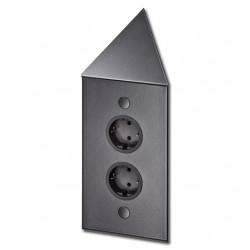 Energiezuil met 2 stopcontacten penaarde ST3007/20C zwart