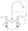 PB Nostalgische Brugkeukenkraan mat zwart ronde uitloop met witte hendels PBN.ZW.R.WH