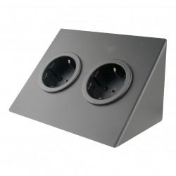 Contactdoos met 2 stopcontacten randaarde zwart 1208953212