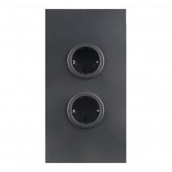 Energiezuil met 2 stopcontacten randaarde zwart 1208953214