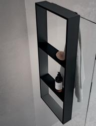 Design Bath douchenis met 3 vakken doucherek en handdoekhaak mat zwart voor over douchewand 1208953289