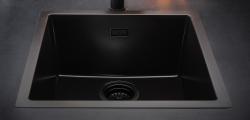 Reginox 40x40 Pure Black zwarte graniet Spoelbak vlakbouw en onderbouw 1208953414