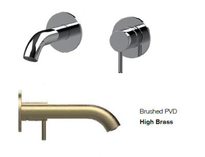 SB Round inbouw wastafelmengkraan geborsteld messing PVD 102mm
