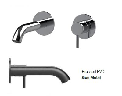 SB Round inbouw wastafelmengkraan gun metal PVD 132mm