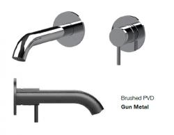 SB Round inbouw wastafelmengkraan gun metal PVD 162mm