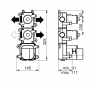 SB Universale inbouwdeel thermostaatkraan met 1 stopkraan en 1 omstelkraan
