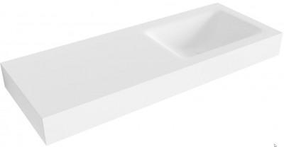 OUTLET Solid-S Cloud solid surface vrijhangende wastafel 120x46x12cm mat wit model rechts 1 wasbakken 1208953229