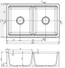 GraniteMy Tradition landelijke dubbele gootsteen 2 zijde granieten spoelbak 80x50cm zwart opbouw onderbouw en vlakbouw 1208953697