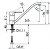 Ausmann Minta mat zwarte lage keukenkraan met draaibare uitloop 1208953838