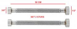 PB flexibele aansluitslang tbv brug keukenkraan 50cm lang met 2 x binnendraad 1/2 + 3/8 1208953845