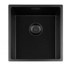Lorreine zwarte Quartz kleine spoelbak 34x40cm onderbouw vlakbouw en opbouw zwart met zwarte korfplug 1208953999