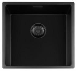Lorreine zwarte Quartz kleine spoelbak 40x40cm onderbouw vlakbouw en opbouw zwart met zwarte korfplug 1208954000