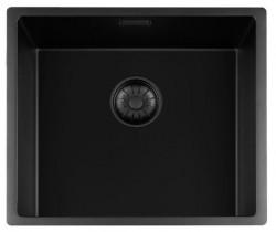 Lorreine zwarte Quartz spoelbak 45x40cm onderbouw vlakbouw en opbouw zwart met zwarte korfplug 1208954001