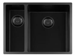 Lorreine zwarte Quartz 1,5 anderhalve spoelbak 1534cm onderbouw vlakbouw en opbouw zwart met zwarte korfplug 1208954005