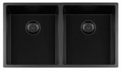 Lorreine zwarte Quartz dubbele spoelbak 3434cm onderbouw vlakbouw en opbouw zwart met zwarte korfplug 1208954009