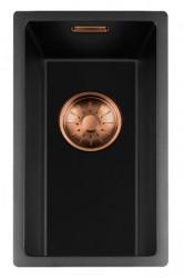 Lorreine zwarte Quartz kleine spoelbak 17x40cm onderbouw vlakbouw en opbouw zwart met koperen korfplug 1208954013