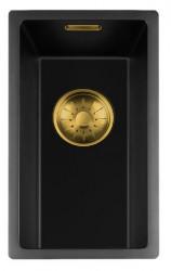 Lorreine zwarte Quartz kleine spoelbak 17x40cm onderbouw vlakbouw en opbouw zwart met gouden korfplug 1208954028