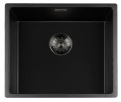 Lorreine zwarte Quartz spoelbak 45x40cm onderbouw vlakbouw en opbouw zwart met gun metal korfplug 1208954037