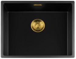 Lorreine zwarte Quartz spoelbak 50x40cm onderbouw vlakbouw en opbouw zwart met gouden korfplug 1208954041