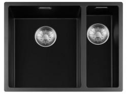 Lorreine zwarte Quartz 1,5 anderhalve spoelbak 3415cm onderbouw vlakbouw en opbouw zwart met RVS korfplug 1208954054