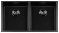 Lorreine zwarte Quartz dubbele spoelbak 3434cm onderbouw vlakbouw en opbouw zwart met gun metal korfplug 1208954058