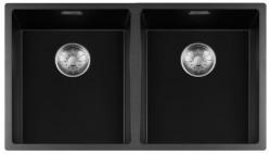 Lorreine zwarte Quartz dubbele spoelbak 3434cm onderbouw vlakbouw en opbouw zwart met RVS korfplug 1208954059