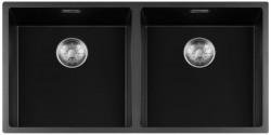 Lorreine zwarte Quartz dubbele spoelbak 4040cm onderbouw vlakbouw en opbouw zwart met RSV korfplug 1208954060