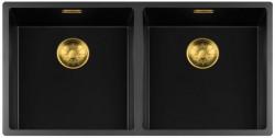 Lorreine zwarte Quartz dubbele spoelbak 4040cm onderbouw vlakbouw en opbouw zwart met gouden korfplug 1208954062