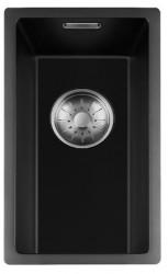 Lorreine zwarte Quartz kleine spoelbak 17x40cm onderbouw vlakbouw en opbouw zwart met RVS korfplug 1208953076