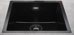 Reginox Texel 40x40 Pure Black zwarte granieten Spoelbak vlakbouw en onderbouw met gun metal plug en overloop 1208954072