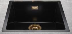 Reginox Texel 50x40 Pure Black zwarte granieten Spoelbak vlakbouw en onderbouw met gouden overloop en plug 1208954074