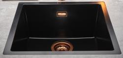 Reginox Texel 50x40 Pure Black zwarte granieten Spoelbak vlakbouw en onderbouw met koperen overloop en plug 1208954075