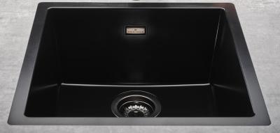 Reginox Amsterdam zwarte spoelbak graniet 50x40 onderbouw en opbouw met gun metal plug en overloop 1208954079