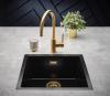 Reginox Amsterdam zwarte spoelbak graniet 50x40 onderbouw en opbouw met gouden plug en overloop 1208954080