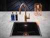 Reginox Amsterdam zwarte spoelbak graniet 50x40 onderbouw en opbouw met koperen plug en overloop 1208954081