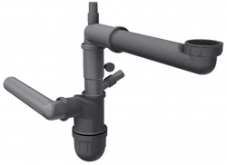 Franke ruimte besparende afvoer sifon met vaatwasser aansluiting Spazio 1 366