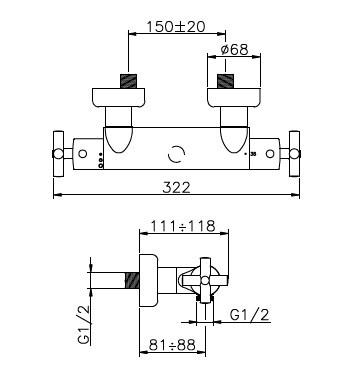 Huber Suite Opbouw douchethermostaat 23001NFHCR